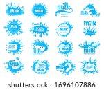 dairy food logo. milk yoghurt...   Shutterstock .eps vector #1696107886