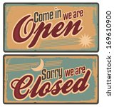 retro metal signs set for store ... | Shutterstock .eps vector #169610900