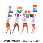 people carrying love letters in ... | Shutterstock .eps vector #1696123600