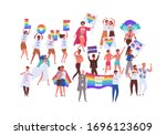 crowd of people on pride parade ...   Shutterstock .eps vector #1696123609
