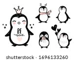Doodle Penguins  Hand Drawn Set ...
