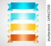 colorful ribbons set | Shutterstock .eps vector #169617200