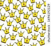 doodle crowns seamless pattern. ... | Shutterstock .eps vector #1696192129