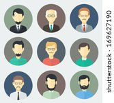 colorful male faces circle... | Shutterstock .eps vector #169627190