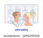 corona virus pandemic wedding... | Shutterstock .eps vector #1696290220