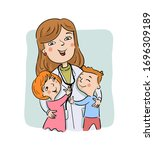 paediatric doctor with her... | Shutterstock .eps vector #1696309189