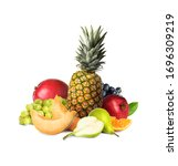 different ripe juicy fruits on...   Shutterstock . vector #1696309219