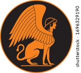 ancient greek sphinx ceramic... | Shutterstock .eps vector #1696329190
