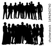 silhouette a crowd of people... | Shutterstock .eps vector #1696343740