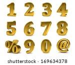 3d golden set of numbers from 0 ...   Shutterstock . vector #169634378