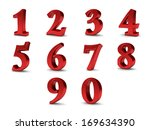 3d red set of numbers from 0 to ... | Shutterstock . vector #169634390