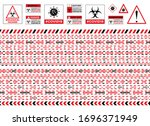 red warning sign. seamless... | Shutterstock .eps vector #1696371949
