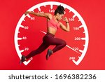 Athletic female sprinter running on red background. Collage with speed recorder. Panorama - stock photo