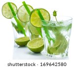 fresh drink with lime and mint... | Shutterstock . vector #169642580
