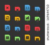 online media icons set on...