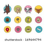 dogs icons set of pets booth...