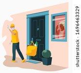 groceries in bag left at front... | Shutterstock .eps vector #1696463329