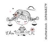 libra zodiac sign. cute girl... | Shutterstock .eps vector #1696468279