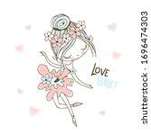 a cute little ballerina in a...   Shutterstock .eps vector #1696474303