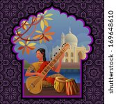 indian girl playing on sitar... | Shutterstock .eps vector #169648610