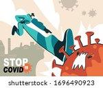 fight with coronavirus concept. ... | Shutterstock .eps vector #1696490923