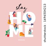 stay at home  concept design.... | Shutterstock .eps vector #1696504213