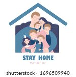 stay home and save lives.... | Shutterstock .eps vector #1696509940