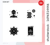 pictogram set of 4 simple solid ...