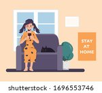 woman stay at home avoid... | Shutterstock .eps vector #1696553746