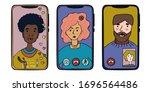 phones with people using...   Shutterstock .eps vector #1696564486