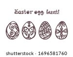 set of easter hand drawn eggs... | Shutterstock .eps vector #1696581760