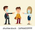 people in medical masks condemn ... | Shutterstock .eps vector #1696603999