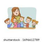teacher with her happy pupils ... | Shutterstock .eps vector #1696612789
