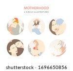 motherhood peach illustrations. ... | Shutterstock .eps vector #1696650856