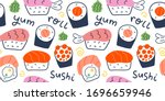 sushi rolls pattern  seafood... | Shutterstock .eps vector #1696659946