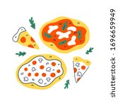 pizza collection  various pizza ... | Shutterstock .eps vector #1696659949