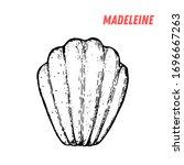 french dessert madeleine sketch.... | Shutterstock .eps vector #1696667263