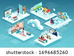 vector of people staying at... | Shutterstock .eps vector #1696685260