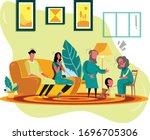 joint family in living room | Shutterstock .eps vector #1696705306