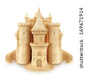 Sand Castle on a white background - stock photo