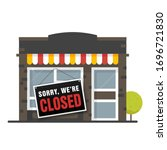 sorry we are closed sign .... | Shutterstock .eps vector #1696721830