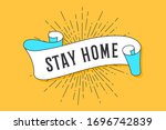 stay home. vintage trendy flag... | Shutterstock .eps vector #1696742839