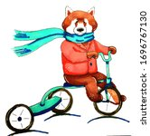 Red Panda Rides A Bicycle. Done ...