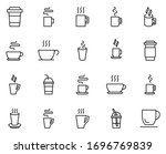Cup Line Icon Set. Collection...