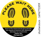 please wait here covid 19 decal | Shutterstock .eps vector #1696772359