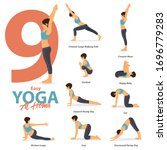 infographic of 9 yoga poses for ... | Shutterstock .eps vector #1696779283