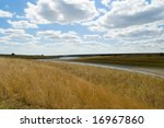canal at steppe - stock photo