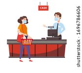 supermarket store counter... | Shutterstock .eps vector #1696786606