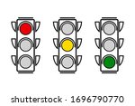 hanging traffic lights with all ... | Shutterstock .eps vector #1696790770