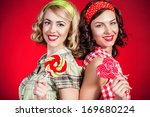 beautiful pinup girls with... | Shutterstock . vector #169680224